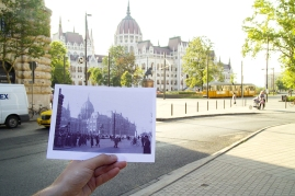 Kossuth Square - scene of a bloody massacre in 1956 - as photographed by an American Marine Security Guard during the days of the revolution, and as it is seen today.