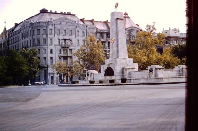Rare colour photograph of the U.S. Legation (Embassy) in Budapest behind the obelisk of the Soviet WW2 memorial. The photo was taken in 1956 by an American Marine Security Guard stationed in Budapest.